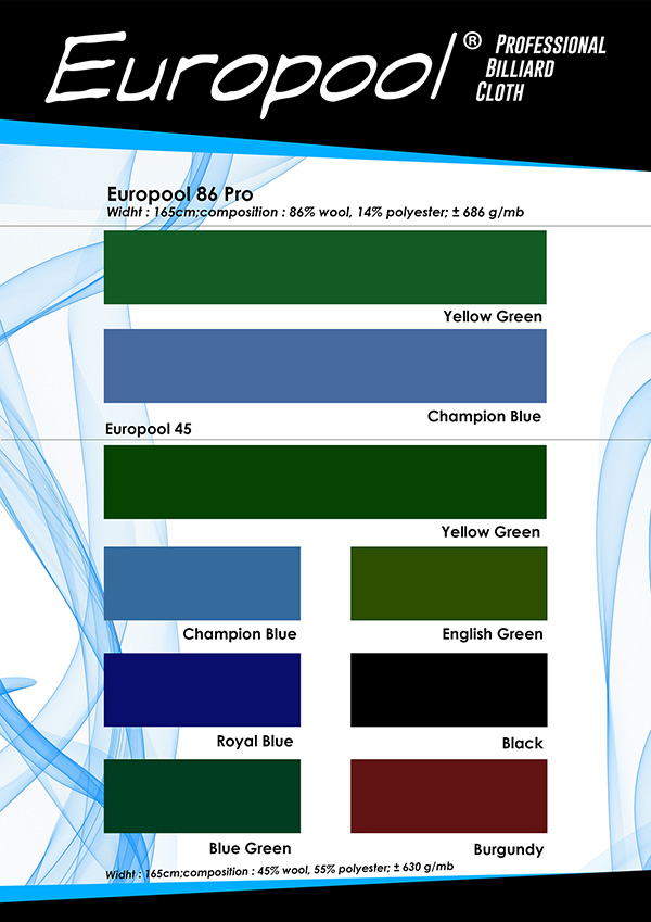 Karta kolorów sukna